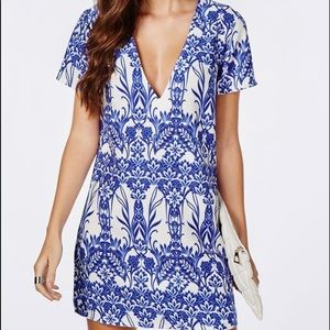 MISSGUIDED Blue and White Printed Dress US 8